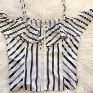 White with black stripes top, never worn